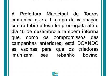 Prefeitura realiza segunda etapa de vacinação contra febre aftosa.