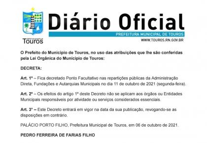 PREFEITO DE TOUROS DECRETA PONTO FACULTATIVO